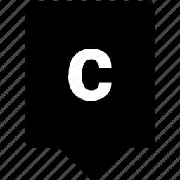 c, english, keyword, letter, lowcase, mobile icon