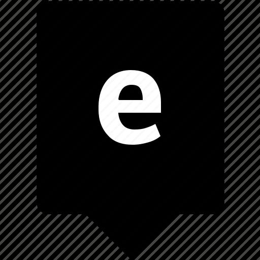 e, english, keyword, letter, lowcase, mobile icon