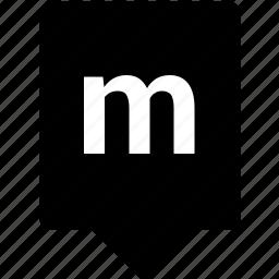 english, keyword, letter, lowcase, m, mobile icon