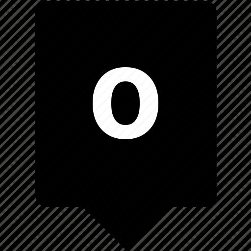 english, keyword, letter, lowcase, mobile, o icon