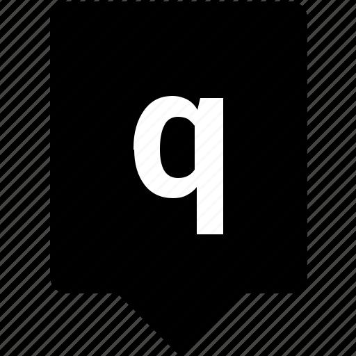 english, keyword, letter, lowcase, mobile, q icon