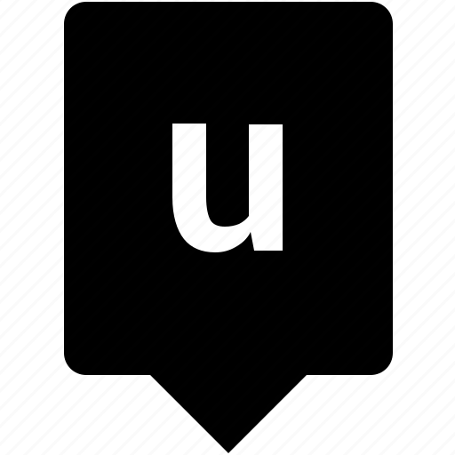 english, keyword, letter, lowcase, mobile, u icon