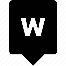 english, keyword, letter, lowcase, mobile, w icon
