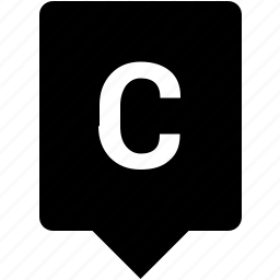 c, english, keyword, letter, mobile, uppercase icon