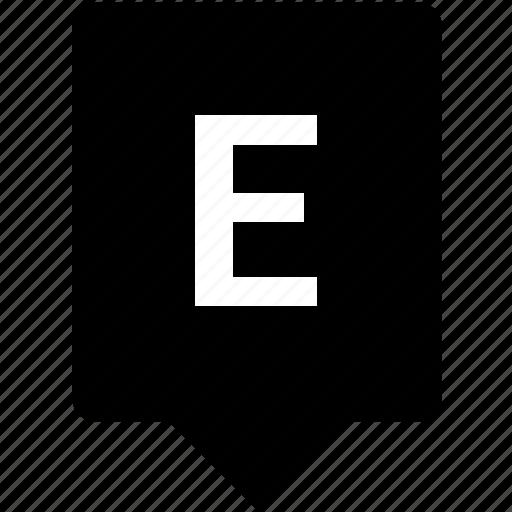 e, english, keyword, letter, mobile, uppercase icon
