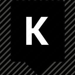 english, k, keyword, letter, mobile, uppercase icon