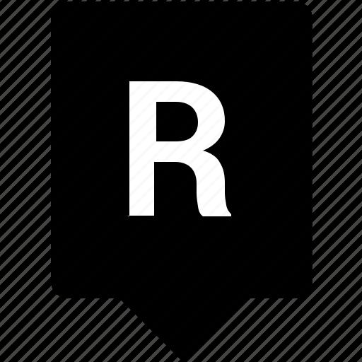 english, keyword, letter, mobile, r, uppercase icon