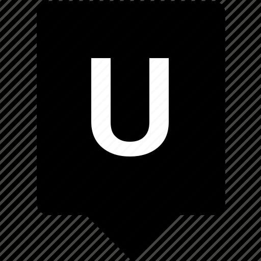 english, keyword, letter, mobile, u, uppercase icon