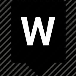 english, keyword, letter, mobile, uppercase, w icon