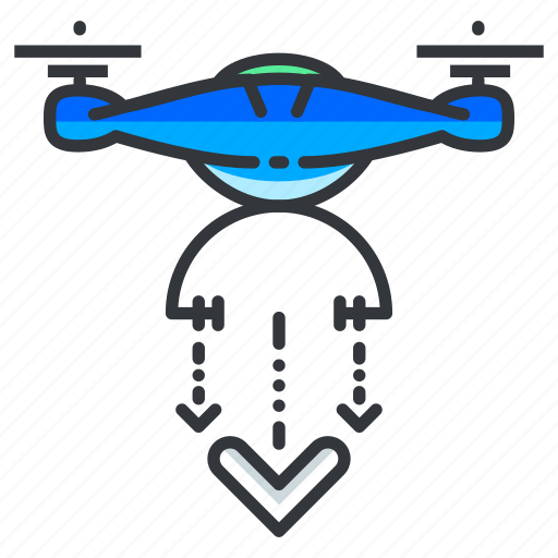 down, drone, drop, landing icon