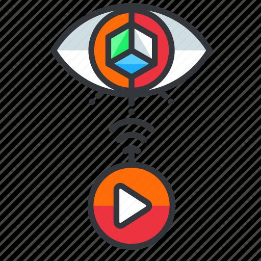 play, reality, view, virtual icon