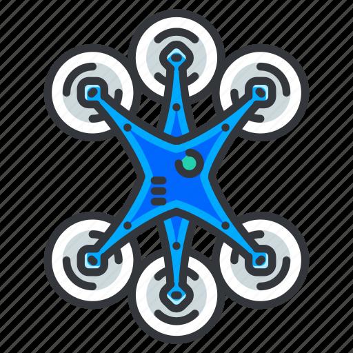 drone, fan, six icon