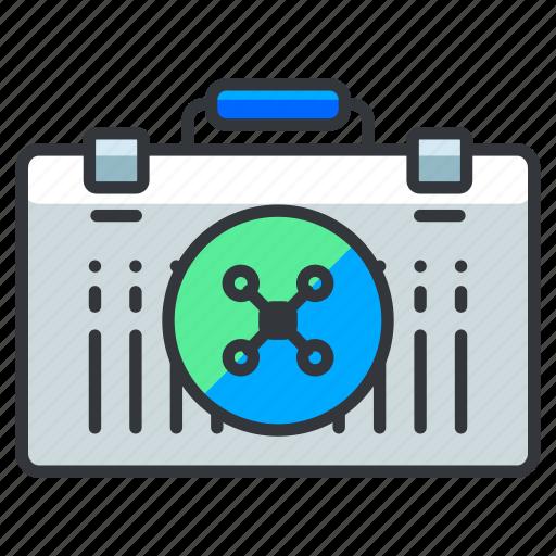 briefcase, drone, suitcase icon