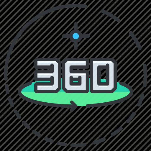 Sixty, hundred, three, vision, degree icon