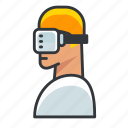 goggles, man, reality, virtual, vr icon