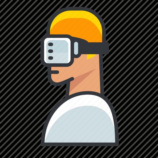 goggles, man, reality, virtual, vr icon