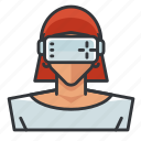 goggles, vr, woman icon