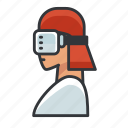 goggles, reality, virtual, vr, woman icon