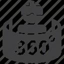 vr, 360, virtual reality, simulator icon
