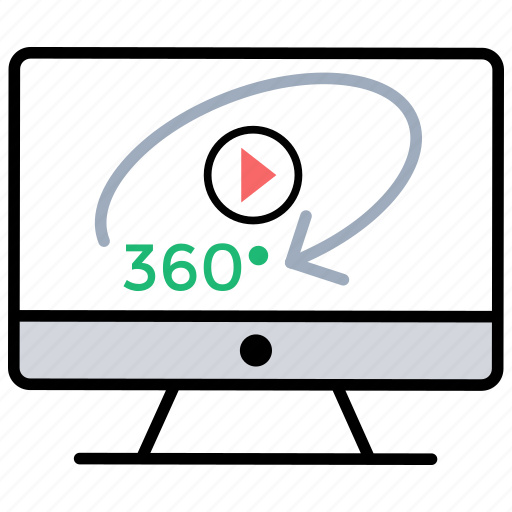 360 degree, 360 degree video, 360 view, immersive video, spherical video icon