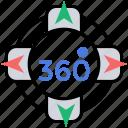 360 degree, 360 degree app, 360 degree vision, spherical video, virtual reality icon