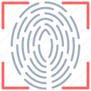 biometric, fingerprint reader, fingerprint scanner, identification, identity scanner icon