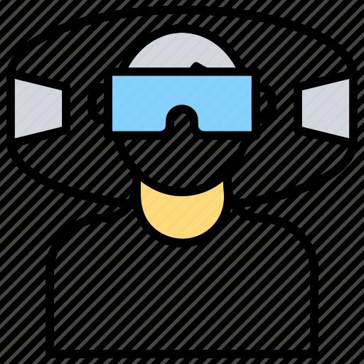 virtual glasses, virtual goggles, virtual reality environment, virtual reality headset, vr glasses icon
