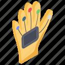 cybergloves, data gloves, power gloves, smart gloves, wired gloves icon