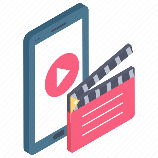 mobile video, online movie, video app, video player, video streaming icon