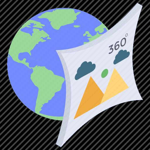 360 degree photo, 360 degree vision, immersive photo, panorama views, spherical photo icon