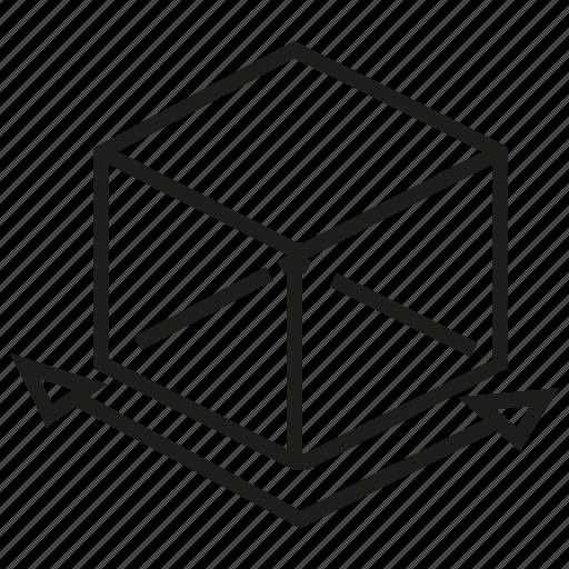 box, cube, dimension, model icon
