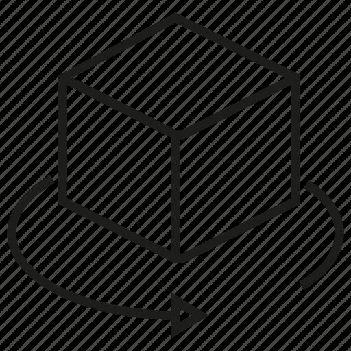 box, cube, dimension, rotate icon