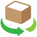 box, object, package, rotation icon