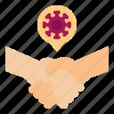 coronavirus, covid, greeting, handshake, touch, transferring, virus
