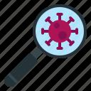 coronavirus, covid, find, glass, magnifying, search, virus
