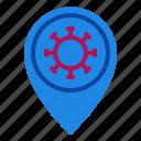 coronavirus, covid, location, map, pin, placeholder, virus