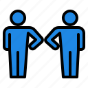 bump, coronavirus, covid, elbow, greeting, prevent, virus icon