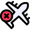 cancel, cancel flight, flight, plane, transmission, transport, vehecle icon