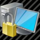 computer, desktop, locked, monitor, pc icon