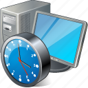 clock, computer, desktop, monitor, pc icon