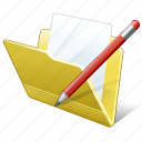 document, edit, file, folder icon