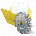 document, file, folder, settings icon