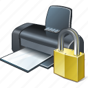 locked, print, printer icon