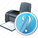print, printer, question icon