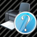 print, printer, question icon