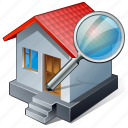 building, home, house, search icon