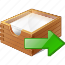 box, documents, export, office, paper icon