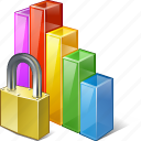 analytics, bar, chart, graph, locked, statistics, stats icon