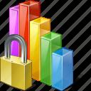 analytics, bar, chart, graph, locked, statistics, stats