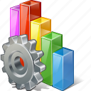analytics, bar, chart, graph, settings, statistics, stats icon